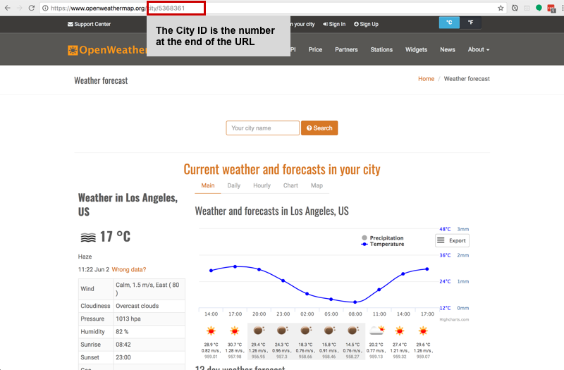 OpenWeatherMap Screenshot of where to locate the City ID